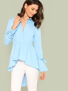 High Low Tie Waist Collared Top with Buttons SKY BLUE