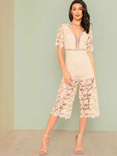 Crochet Lace Overlay Jumpsuit BLUSH