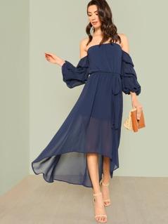 Bubble Sleeve Bardot Sheer Dress NAVY