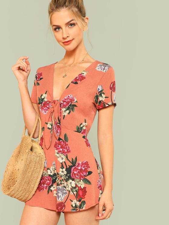4cbb3ad16e2 Floral Print Tie Front Romper with Keyhole Back BRICK RED ...