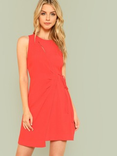 Cut Out Wrap Dress RED