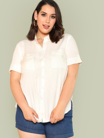 Button Up Collared Top with Dual Pockets IVORY
