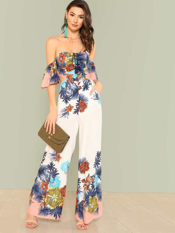 40be60f586 Tropical Print Bardot Jumpsuit with Tie Back Detail OFF WHITE MULTI ...