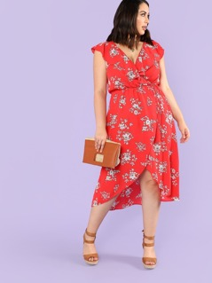 a400bbf928 Plus Floral Print Surplice Wrap Dress with Ruffles RED | MakeMeChic.COM