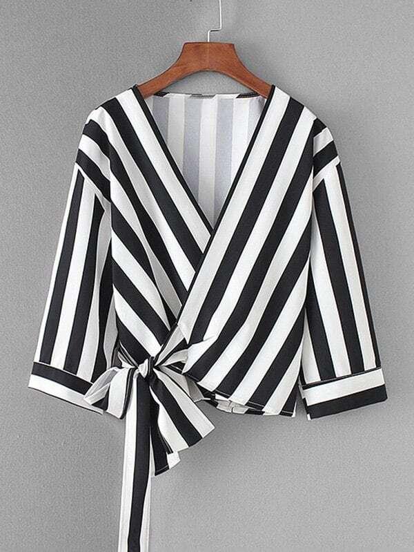 Contrast Stripe Wrap Blouse contrast lace wrap blouse