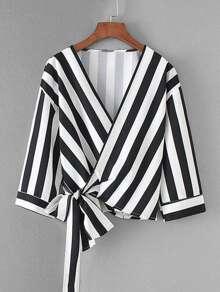 Contrast Stripe Wrap Blouse