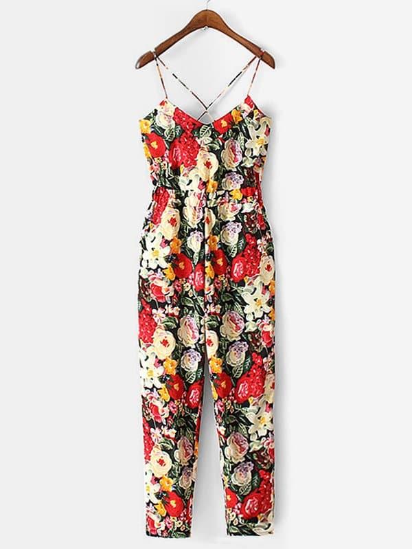 Criss Cross Back Florals Jumpsuit criss cross back scallop trim drawstring waist jumpsuit