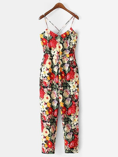Criss Cross Back Florals Jumpsuit