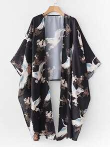 Crane Print Dip Hem Kimono