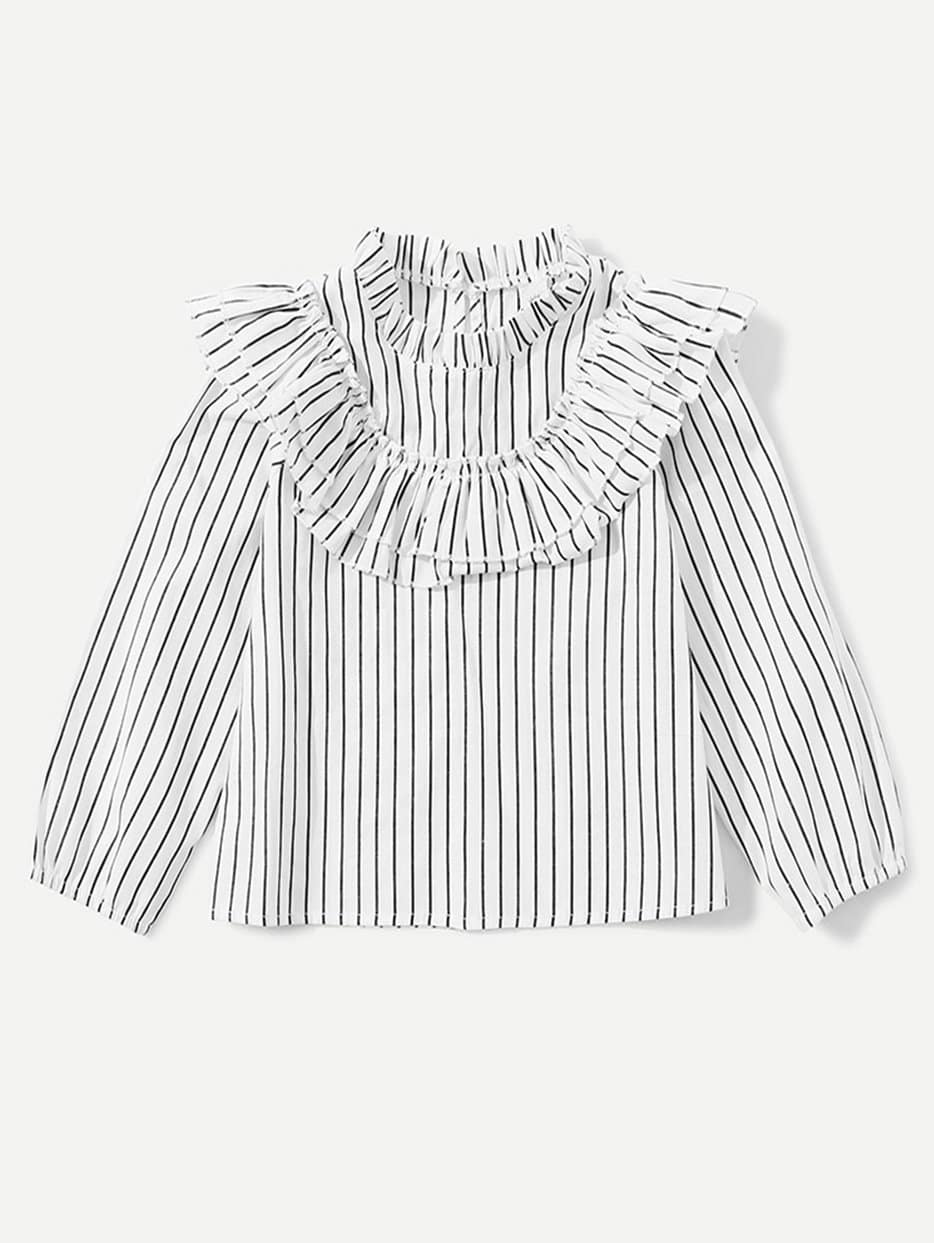 Kids Tiered Ruffle Striped Blouse