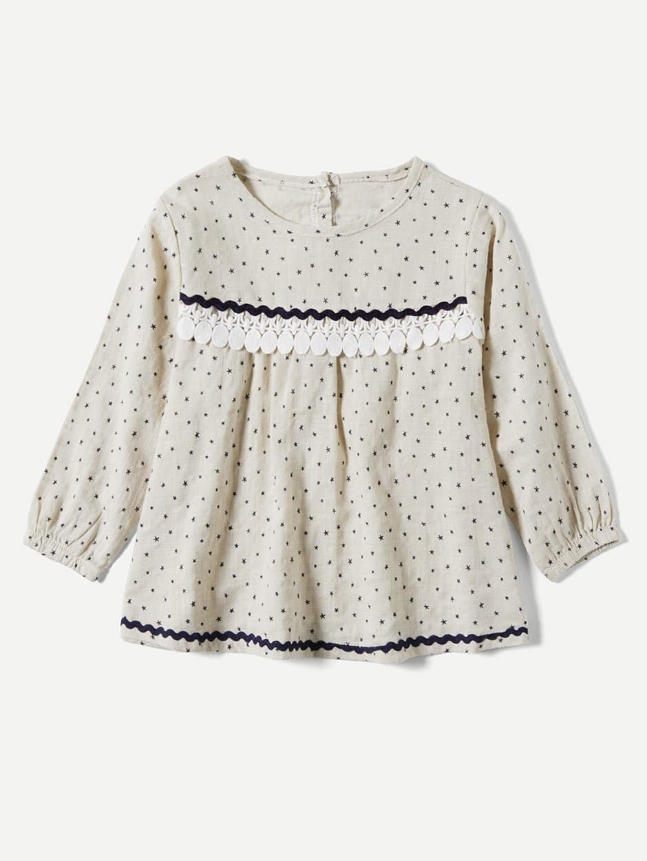 все цены на Kids Contrast Lace Spot Blouse