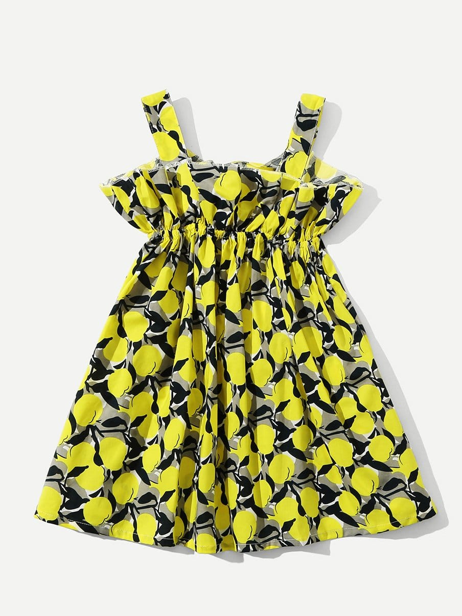 Девушки Рябить Отделки Печатных Платье