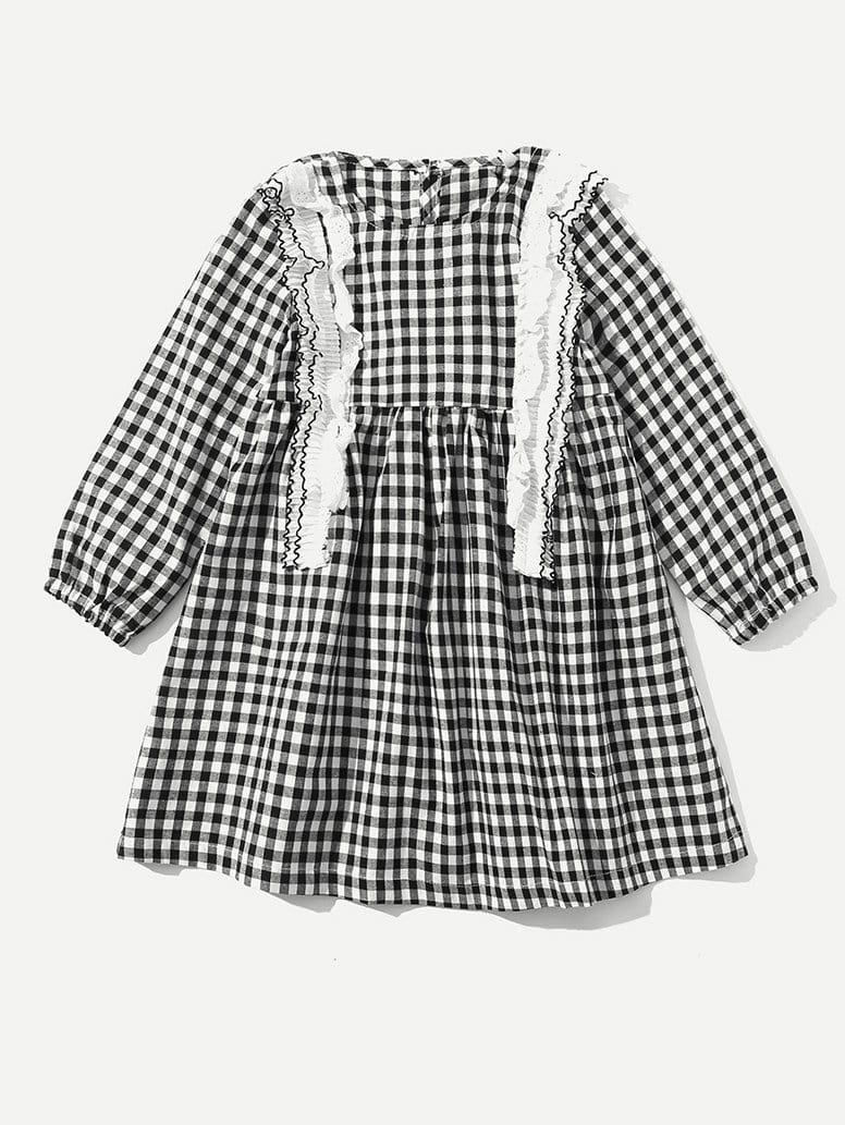 Girls Frill Trim Gingham Babydoll Dress