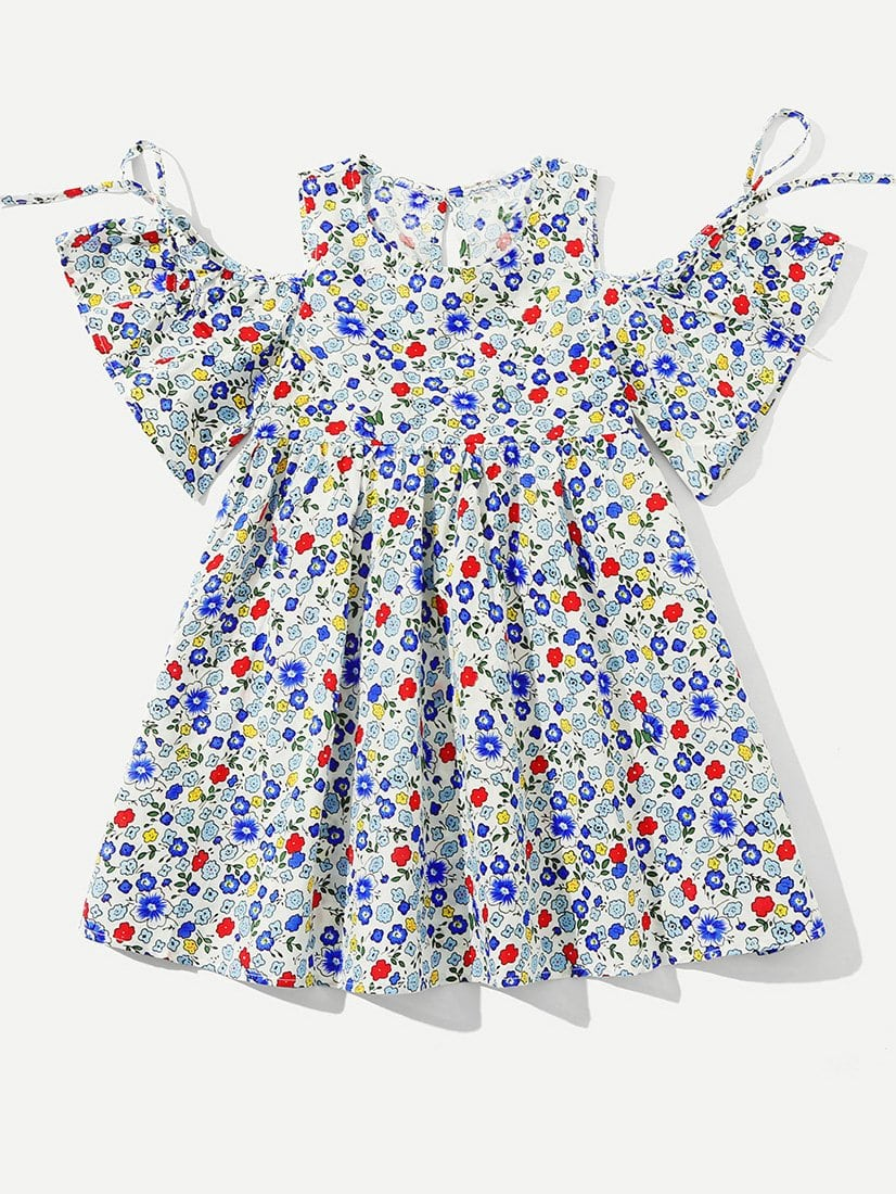 Kids Calico Print Open Shoulder Babydoll Dress