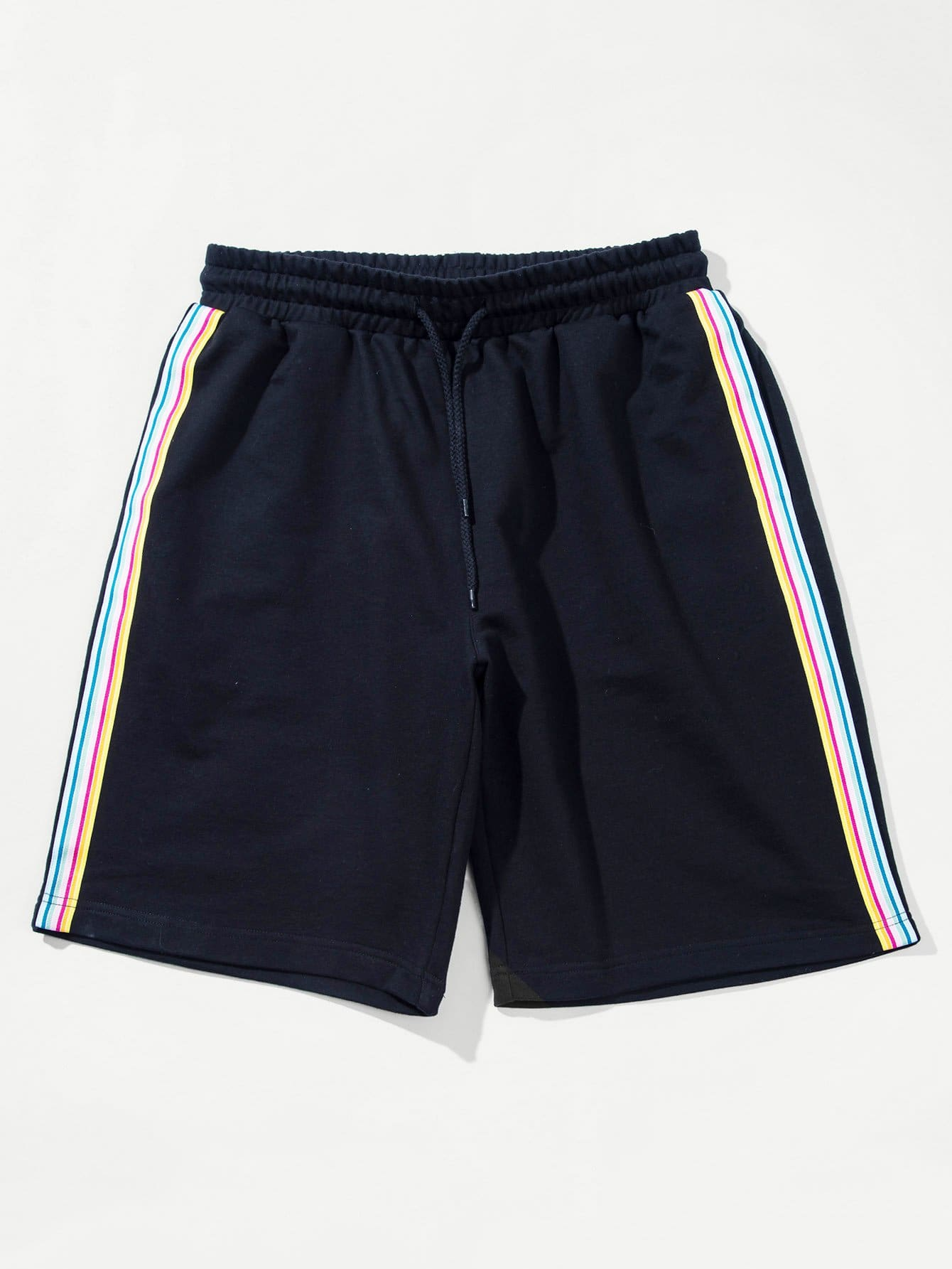 Men Striped Tape Side Drawstring Shorts striped tape side legging shorts