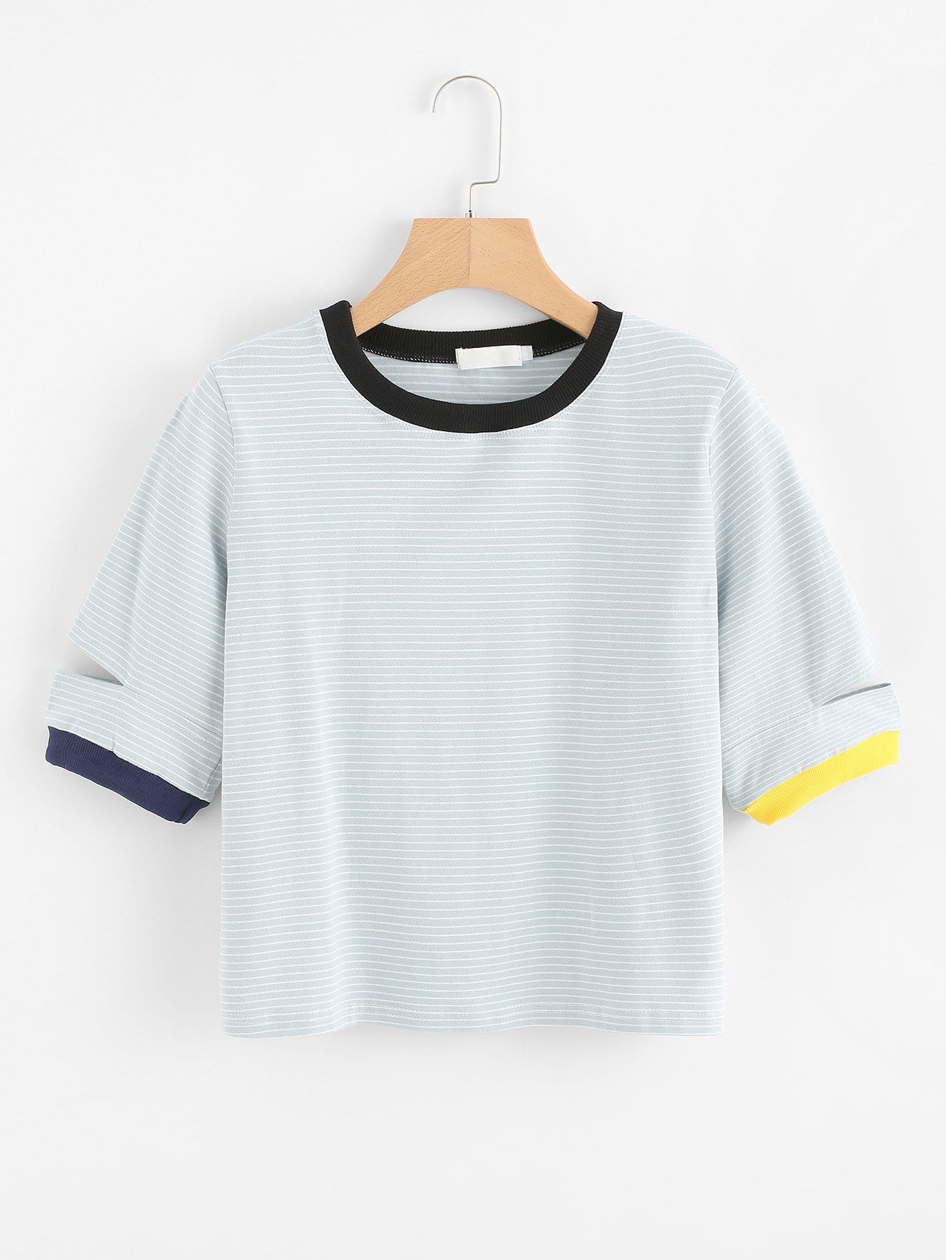 Contrast Trim Ripped Striped Tee