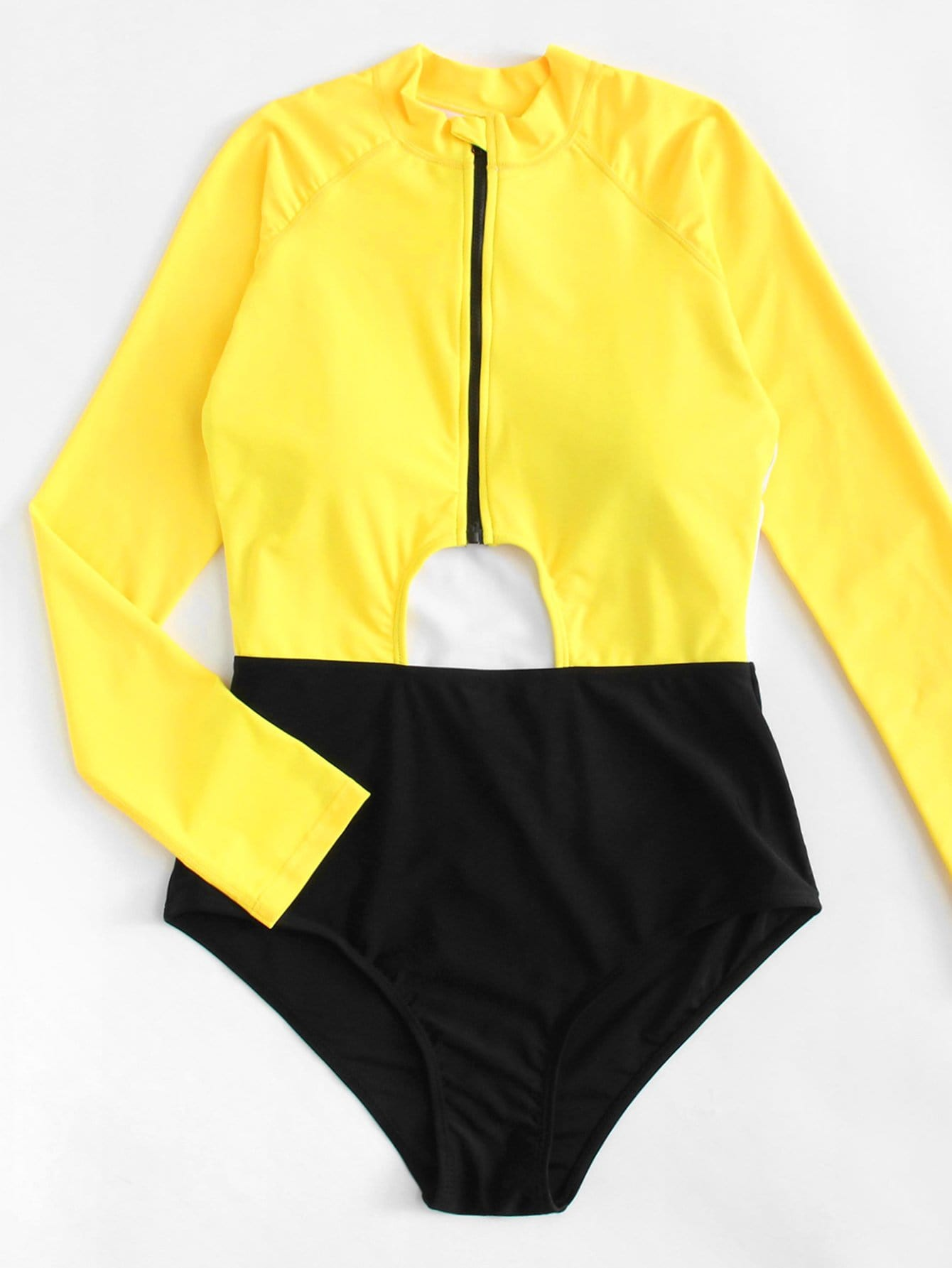Two Tone Cut Out Swimsuit drop crotch loose two tone pants