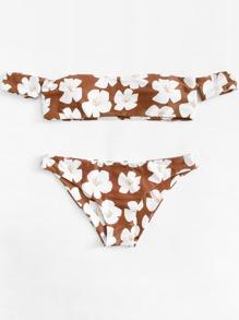 Flower Print Off The Shoulder Bikini Set