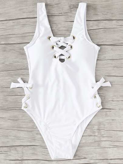Lace Up Low Back Swimsuit