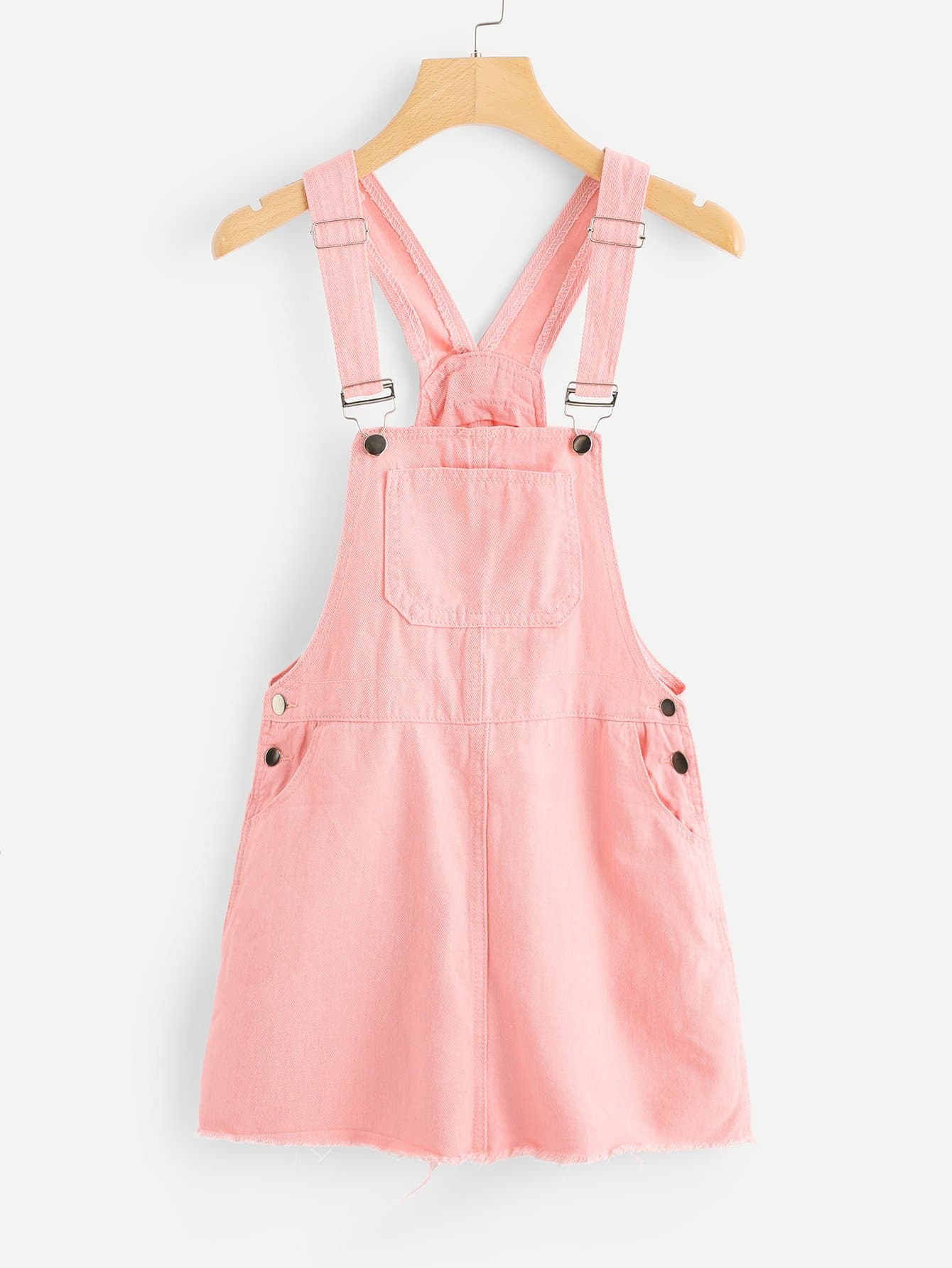 Pocket Front Raw Hem Overall Denim Dress overall yumi overall