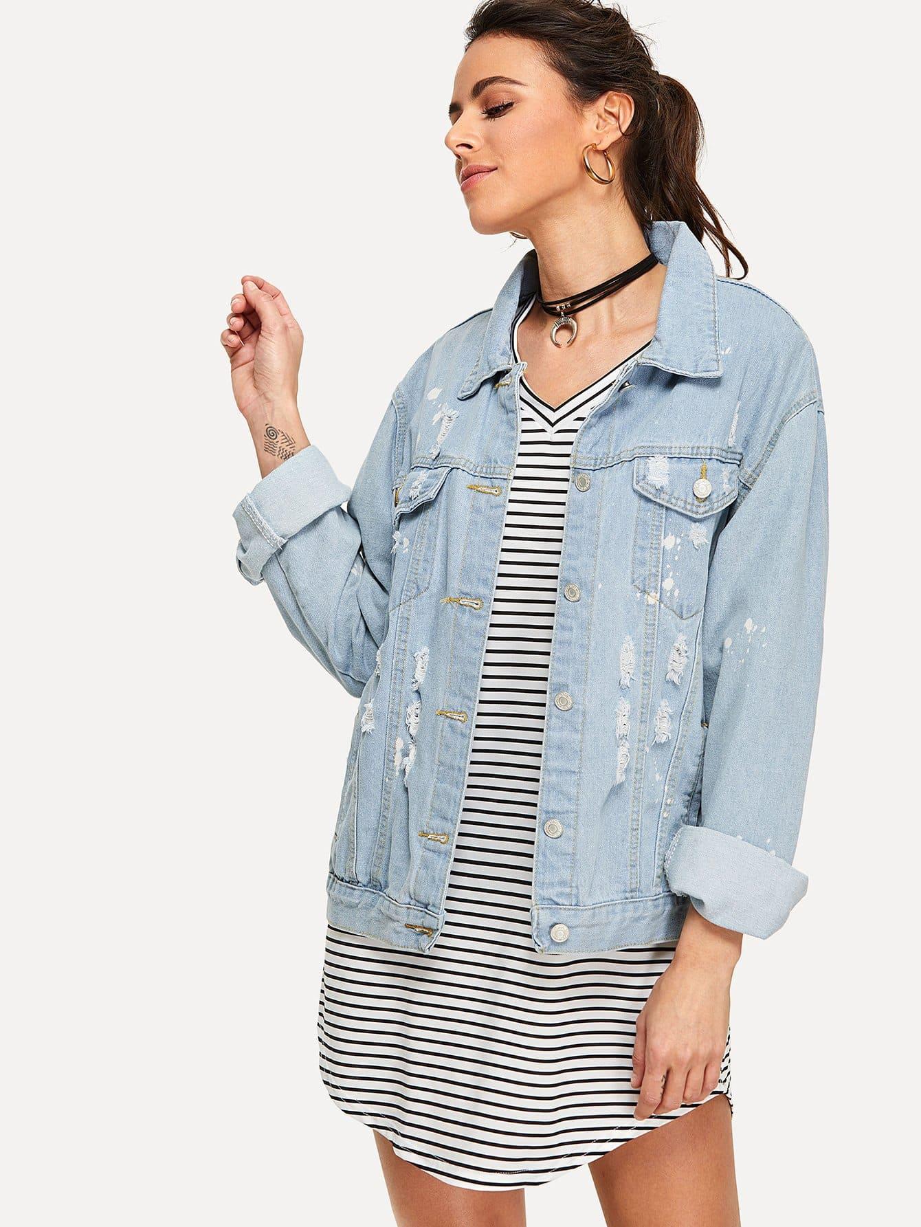 Купить Рванная джинсовая куртка, Karla, SheIn