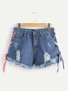 Criss Cross Side Ripped Denim Shorts