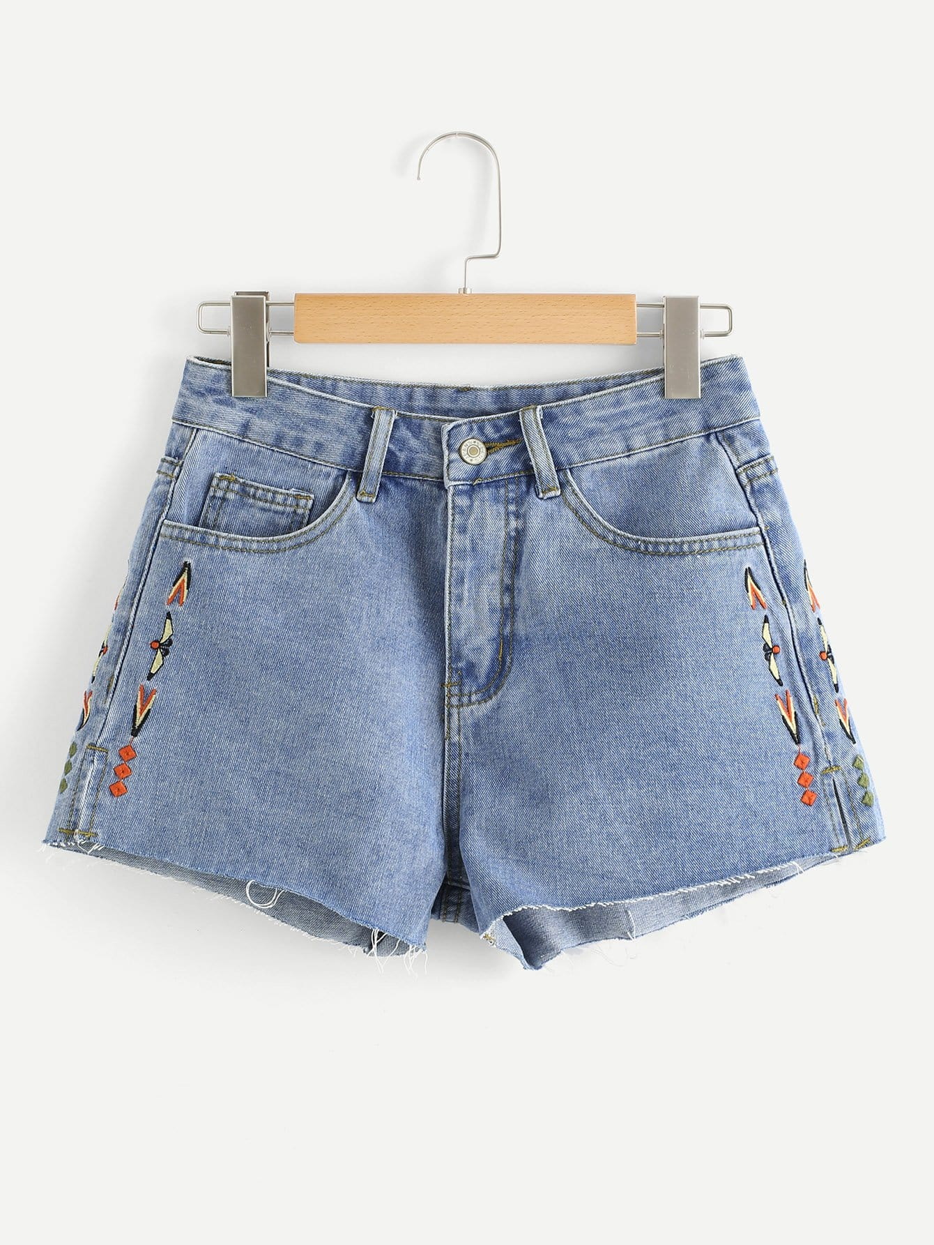 цена на Graphic Embroidered Denim Shorts