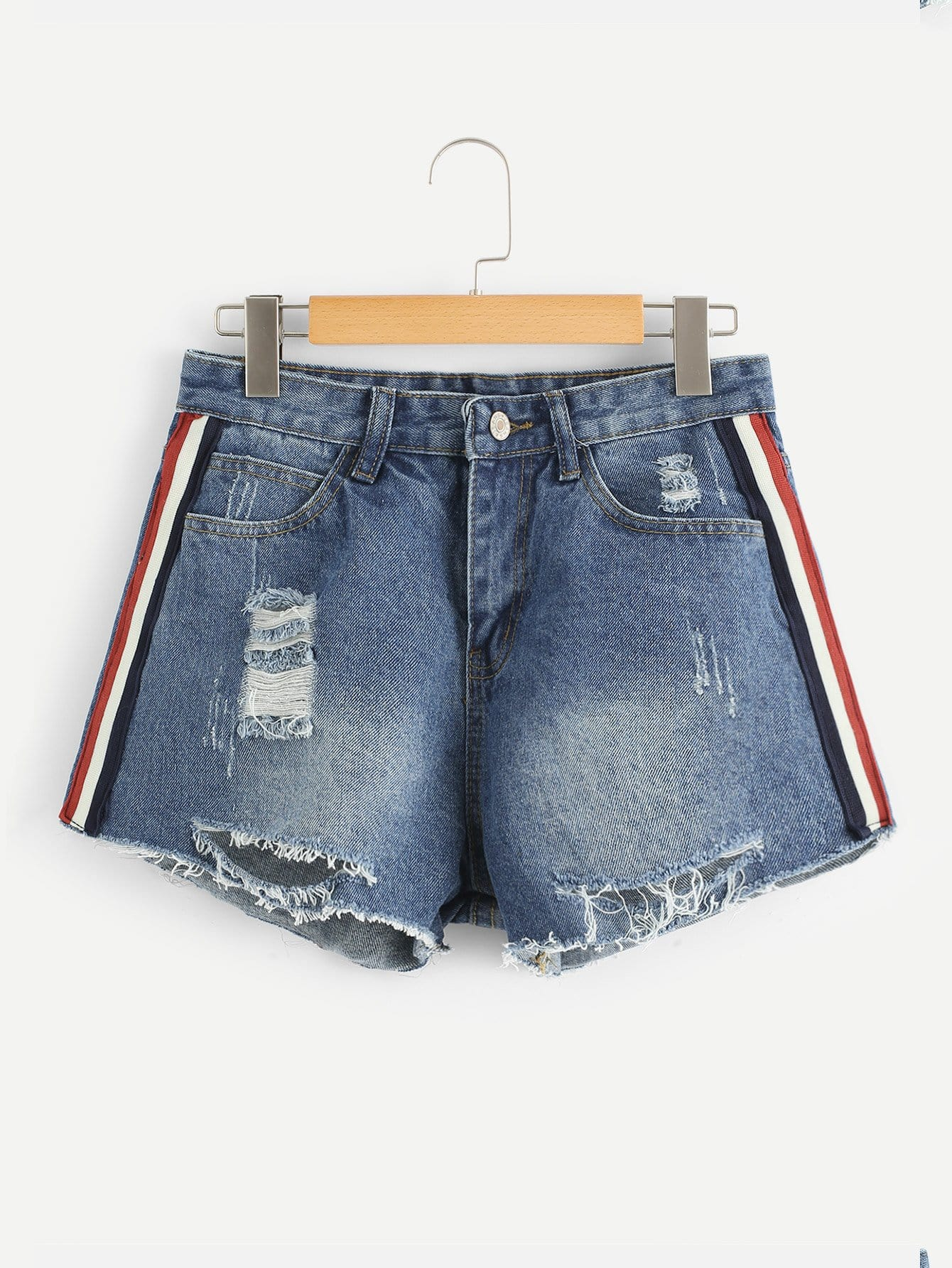 Stripe Side Raw Hem Ripped Denim Shorts