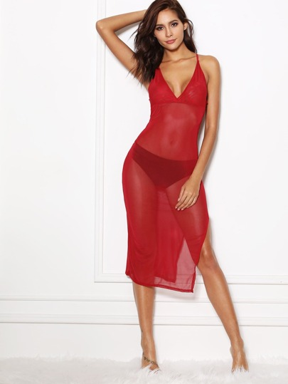 Split Mesh Dress With Thong