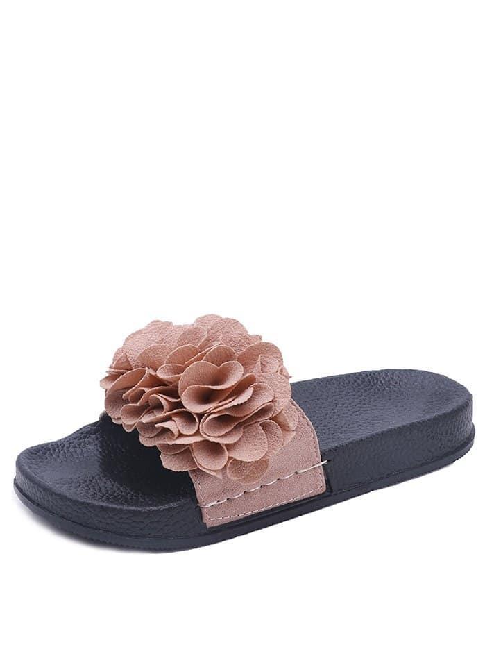 Flower Decorated PU Sandals