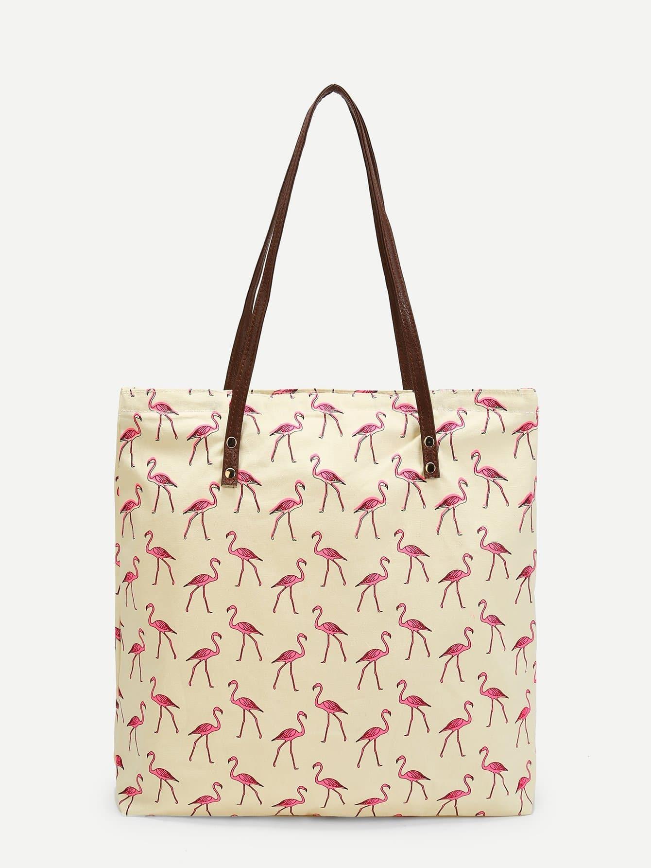 Flamingo Print Tote Bag straw flamingo embroidered tote bag