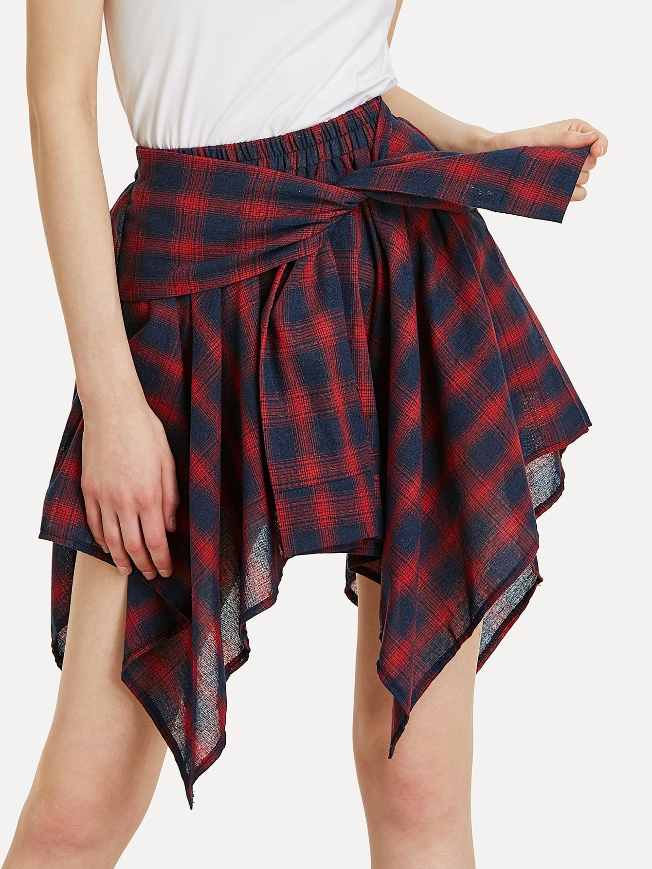 Asymmetrical Hem Plaid Skirt asymmetric hem belted plaid skirt