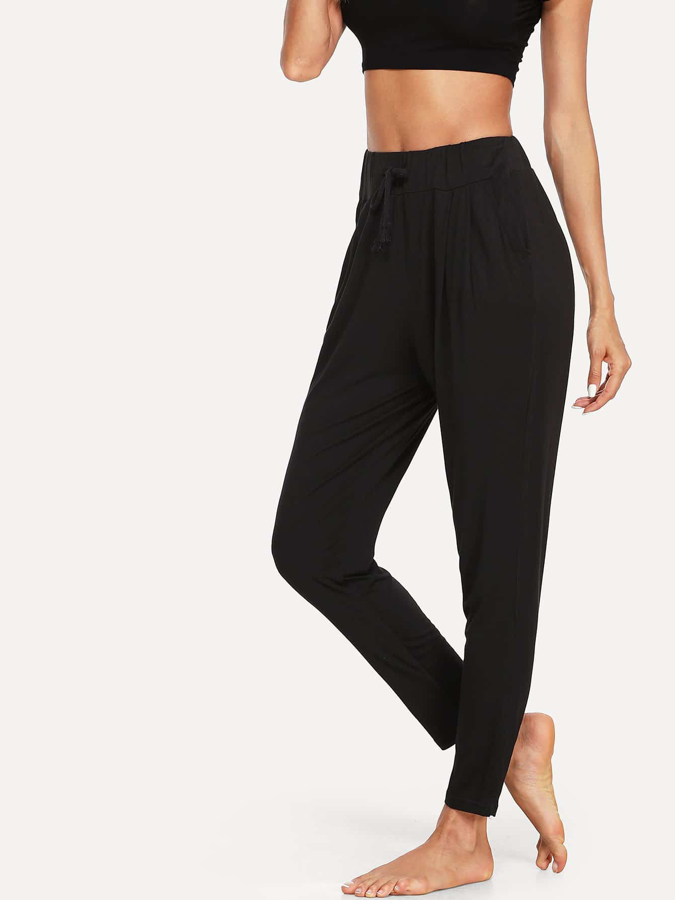 Solid Drawstring Waist Pants plus size ruffle drawstring waist gaucho pants