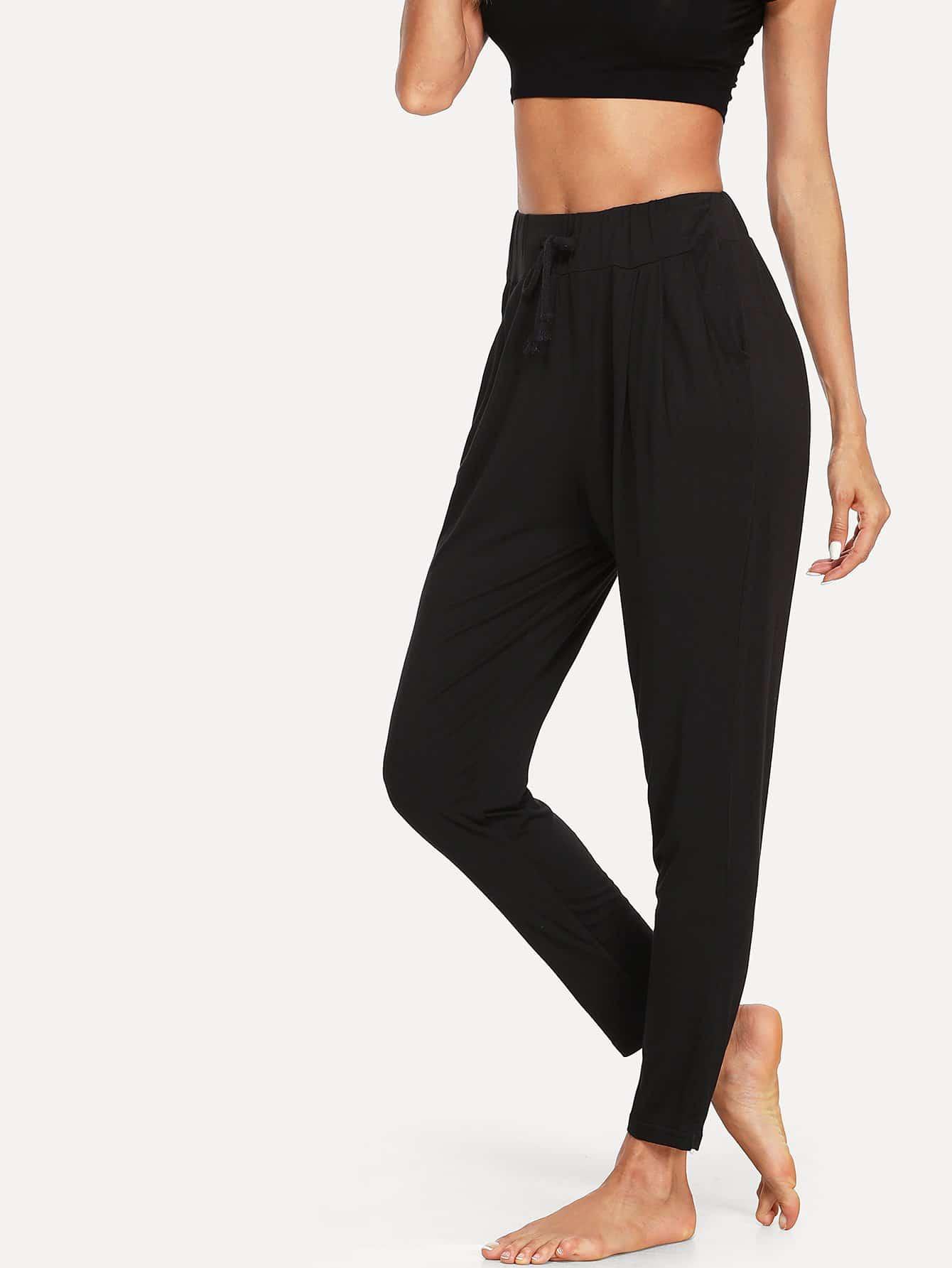 Solid Drawstring Waist Pants