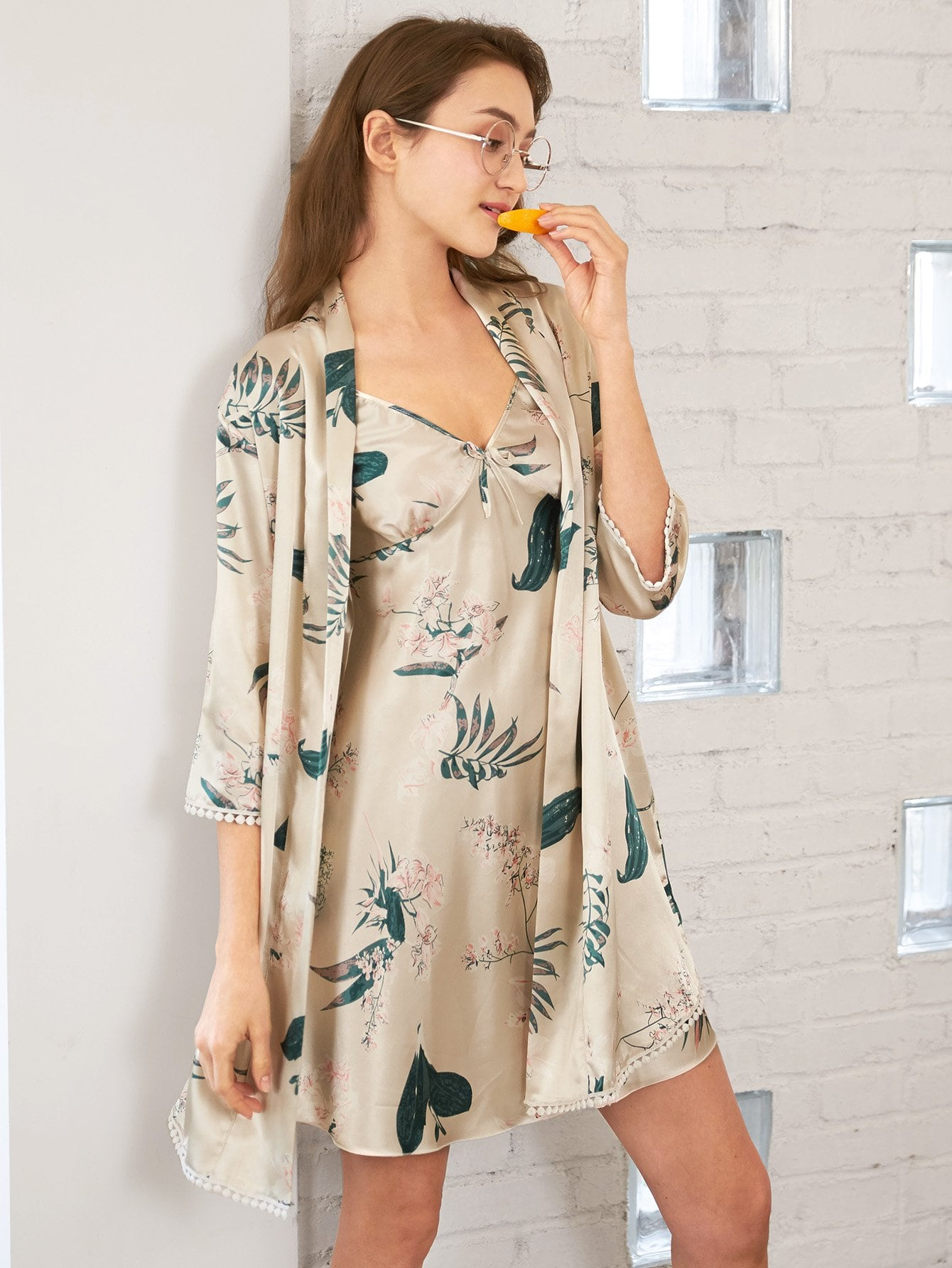 Botanical Print Cami Dress With Robe