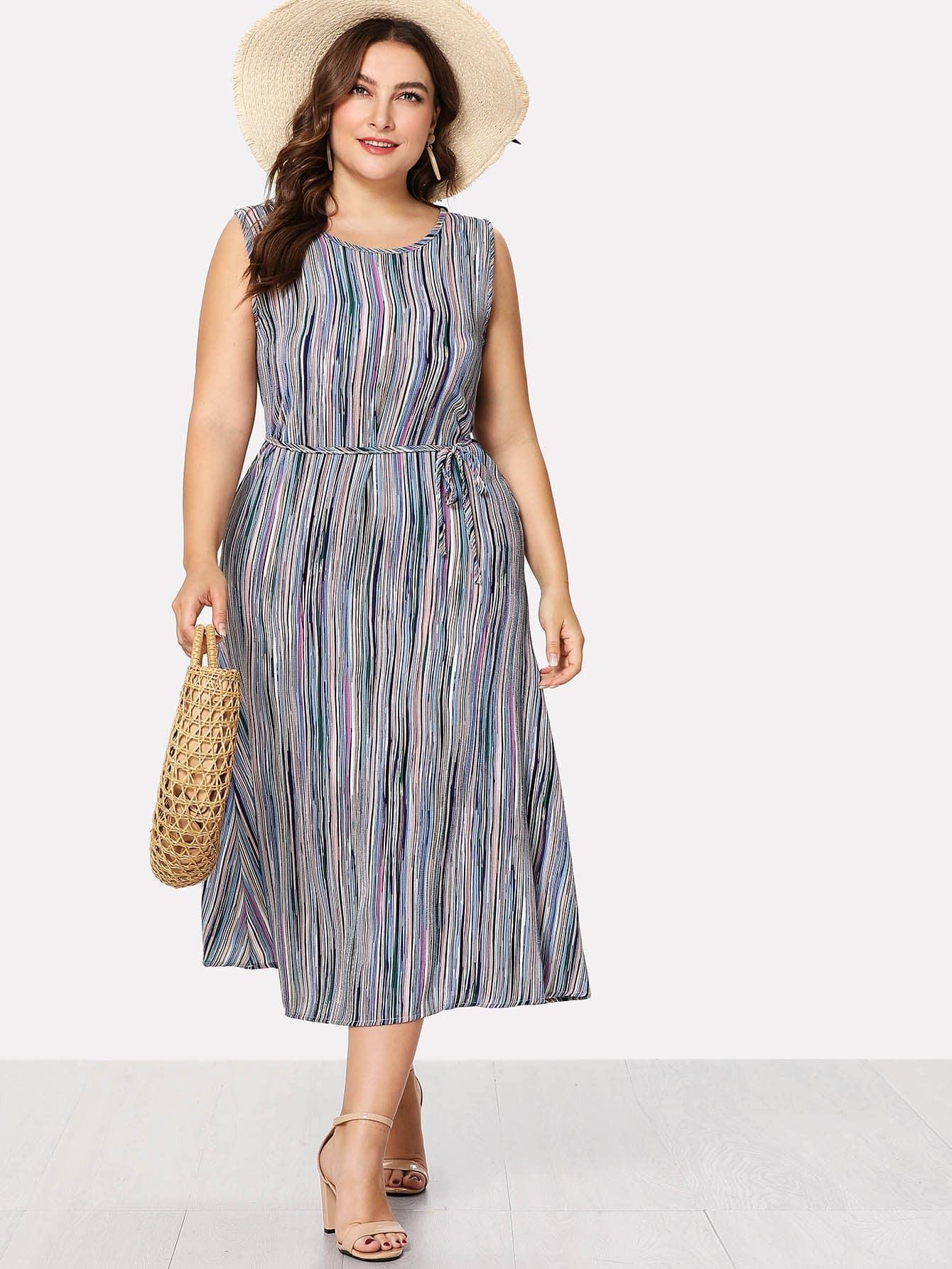 Self Tie Waist Striped Dress