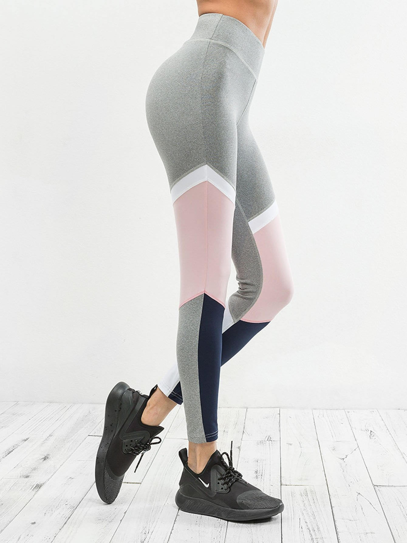 Elastic Waist Color Block Leggings