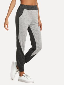 Elastic Waist Color Block Pants