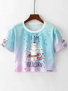 Unicorn Print Crop Tee