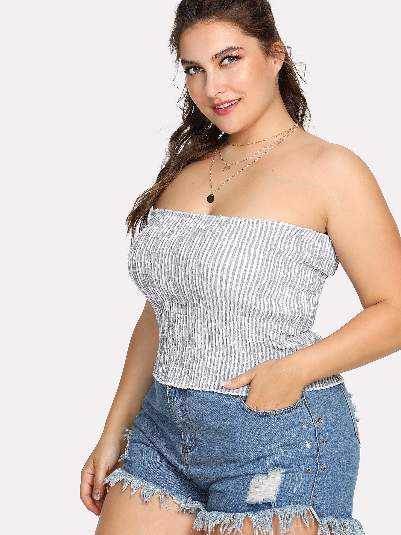 Striped Pleated Tube Top