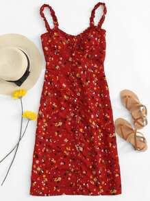 Ruffle Trim Calico Print Cami Dress
