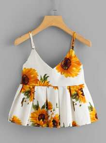 Floral Print Box Pleated Cami Top