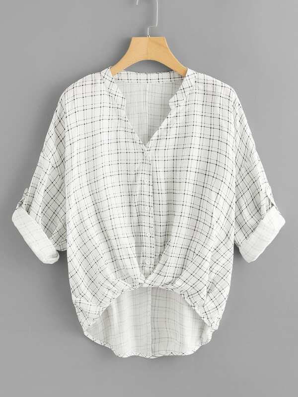 Rolled Up Sleeve Grid Dip Hem Blouse by Shein