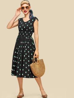 Polka Dot Fit & Flared Dress