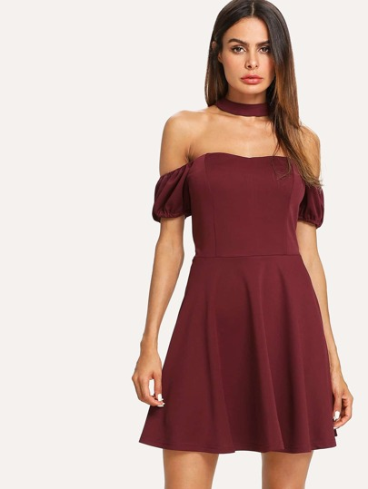 Choker Off Shoulder Skater Dress