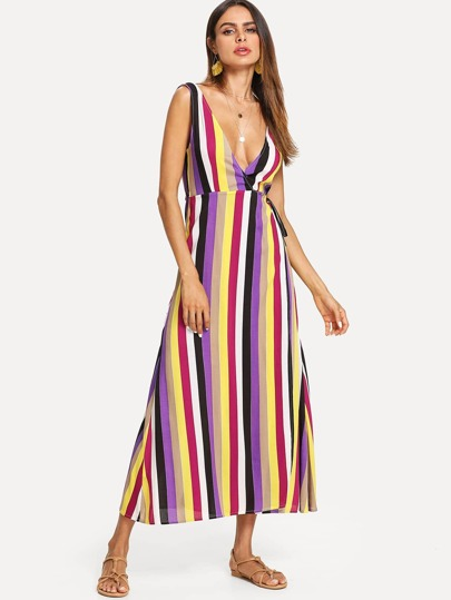 Plunge Neck Sleeveless Striped Dress