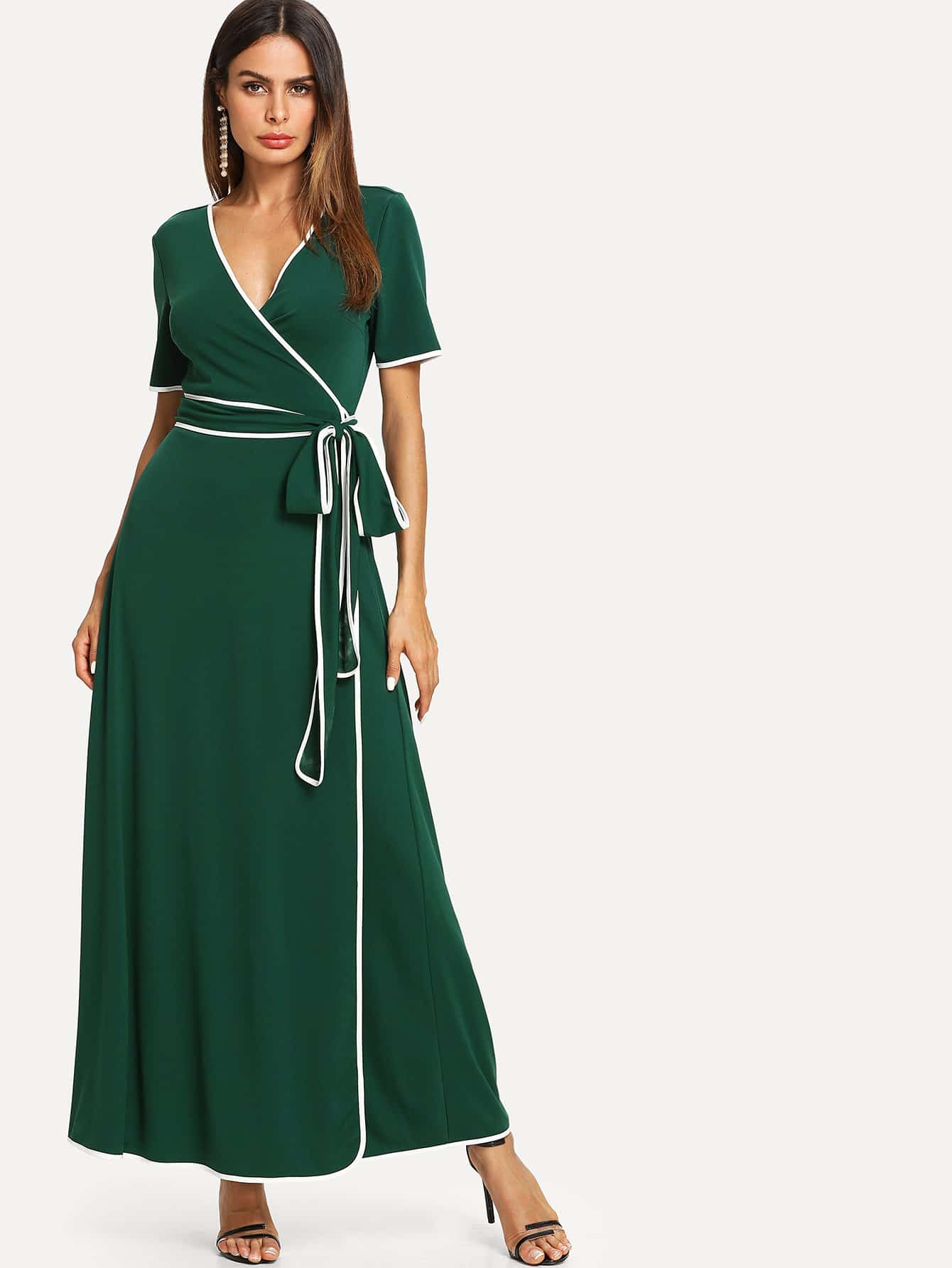 Contrast Binding Belted Wrap Dress contrast binding wrap dress