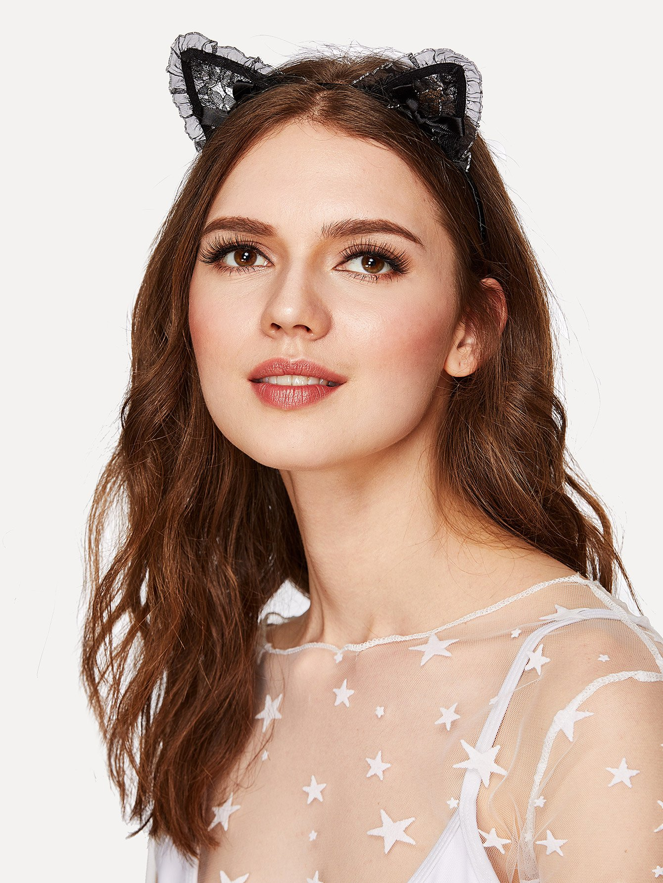 Bow Detail Headband With Lace Cat Ear lace cat ear design headband 2pcs