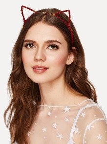 Star Detail Headband With Cat Ear