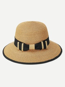 Contrast Edge Straw Hat